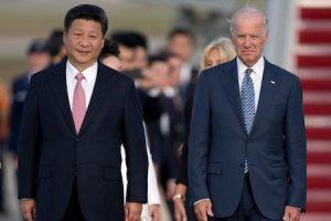 Joe Biden, right, with Chinese President Xi Jinping