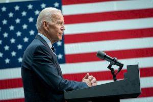 President Joe Biden America Flag speaking