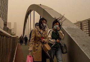 Women in masks in storm