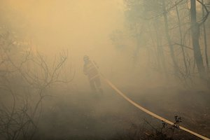 Fire Fighter in smoke forest
